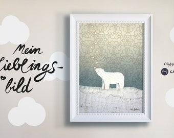 Children's room picture bear, snow, snowflakes, polar bear, print, poster polar bear, snowy landscape, North Pole