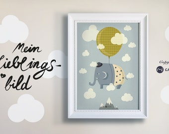 Nursery picture, poster, print, elephant