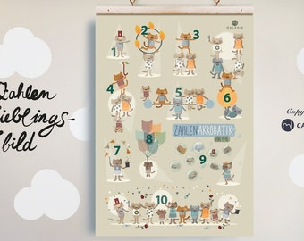Number Poster, Nursery Picture, Learning Poster, Print, Cats, Poster A3