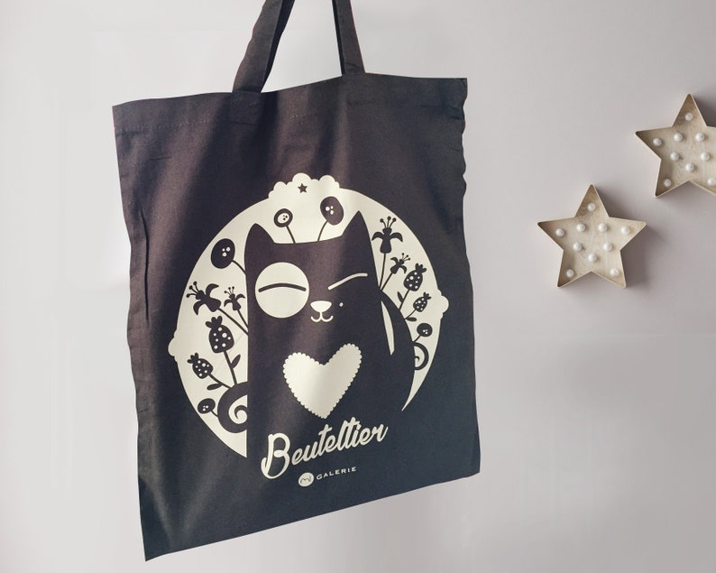 Bag bag jute bag jute bag with cat saying image 0