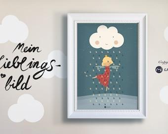 Poster, nursery picture, print, princess, girl, dancing in the rain, digital print