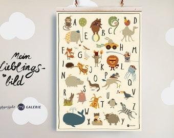ABC Poster, Animal Alphabet DINA 3, ABC Nursery Picture, Print, Animal Alphabet, Letters, Nursery