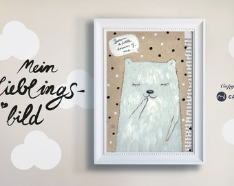 """Poster, Nursery Picture, Print, Bear """"Dream a little dream of me"""""""