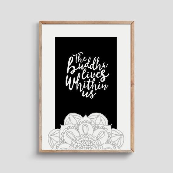 Picture Poster Buddha Art Buddhist Mandala Black /& White Framed Print