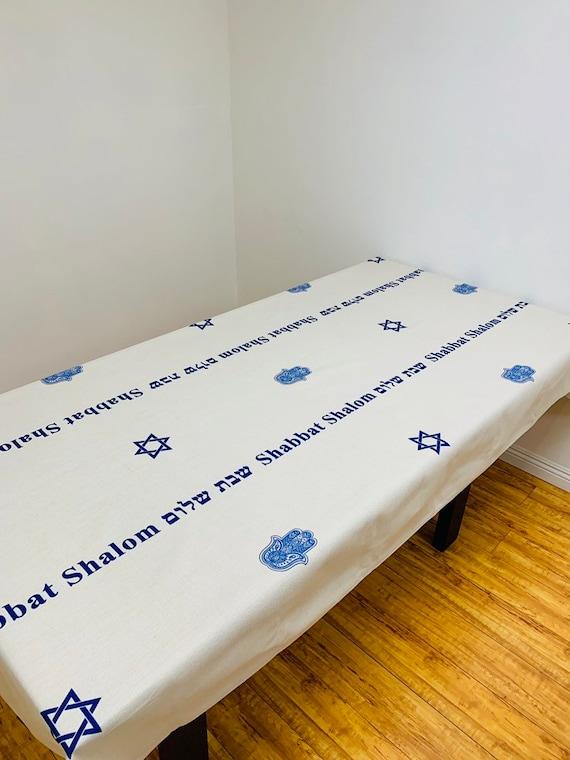 Blessings Linen Table Runner Beautiful Blue Brachot