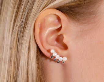 Freshwater Pearl 5mm Ear Cuff CHRISTMAS SALE-White Pearl Sterling Silver Ear Climbers Post Earrings Ear Sweep Pearl Ear Cuff-Cyber Sale