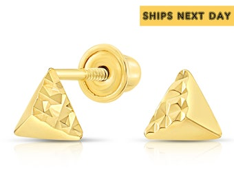 c3dd09ec9 10k Yellow Gold Tiny Cute Pyramid Stud Earrings with Diamond-cut and Secure  Screw-Backs