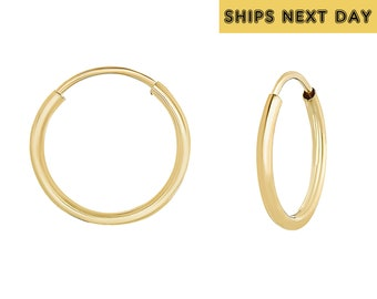 7ba77a389 14k Yellow Gold Round Endless Hoop Earrings, Sleeper Earrings, Nose and  Cartilage Jewelry, Unisex (10mm, 12mm, 14mm, 16mm, 18mm, 20mm)