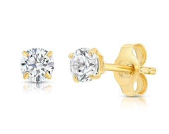 Details about  /1ct Round Cut Yellow Stone Classic Stud Earrings 14k Real Pink Gold Push Back