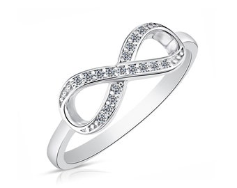 8b91590f9a Sterling Silver Infinity Ring with Simulated Diamond Cz, Forever Love and  Friendship