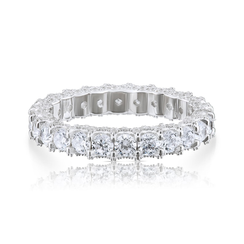3mm Width Eternity Engagement Band Ring With Round Shape CZ Promise Ring Bridal Anniversary Band 925 Sterling Silver Cubic Zirconia Ring