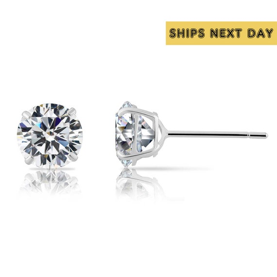 Multiple Sizes 14K Solid White Gold Round Basket Studs Set With Cubic Zirconia