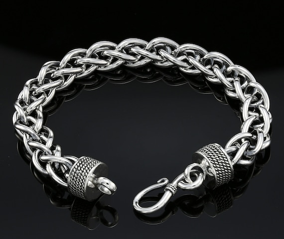 Dark Sterling Silver Handmade Byzantine Chain Bracelet With S Hook Clasp (8 Inch) by Etsy