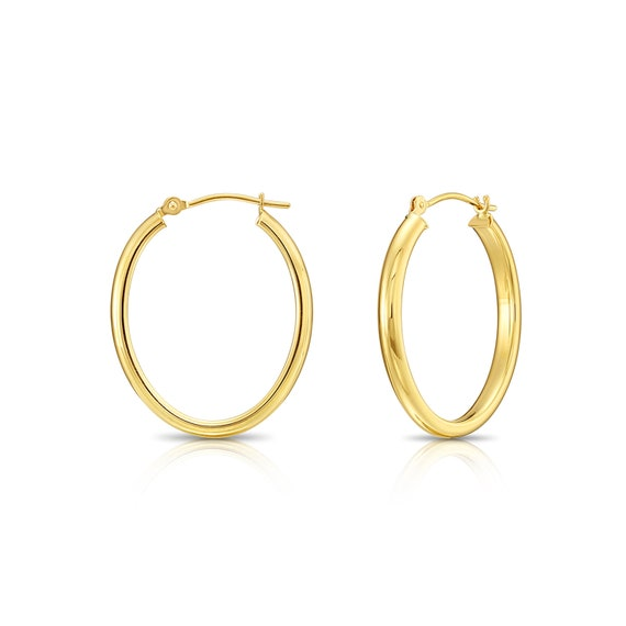 """14k Yellow or White Gold 18mm 0.7/"""" Round Hoop Earrings Polished 1.2mm Tube Hoops"""
