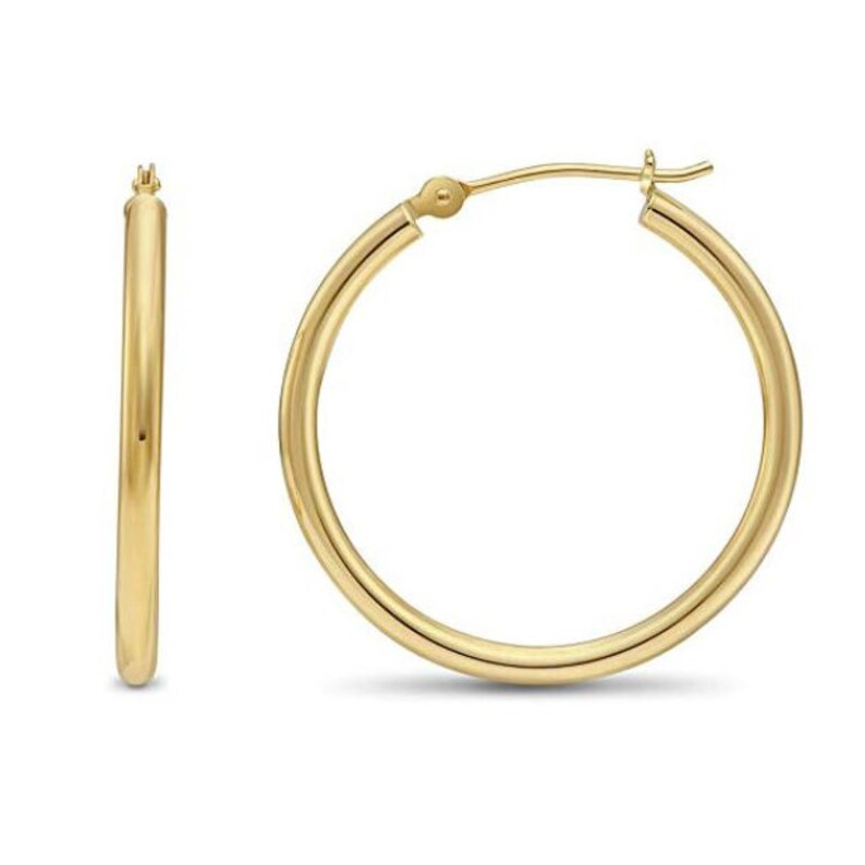 cb88ce3186d54 1 inch Gold Hoop Earrings, Classic Round hoops, Made In USA, 14K Yellow -  White - Rose, 2mm Thickness