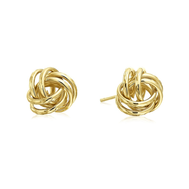 Handmade Love Knots 14k Gold Diamond Cut Love Knot Stud Earrings 9mm