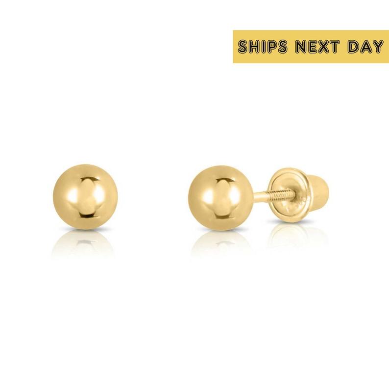 303e7dd15 14k Yellow Gold Ball Stud Earrings with Screwbacks 3mm 4mm | Etsy