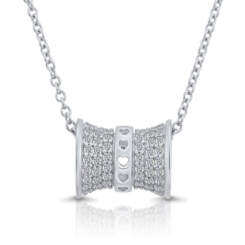 Sterling Silver Love Barrel with Simulated Diamond Cz