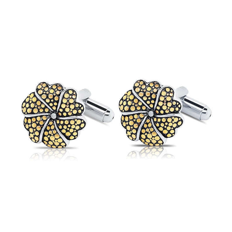 Two-tone Mens Gold Flower Cuff links in Sterling Silver