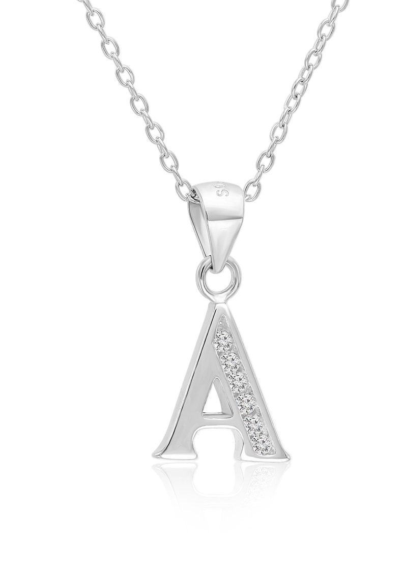 Alphabet CZ Pendants Sterling Silver 925 Initial Choices A to Z Jewelry Letter T