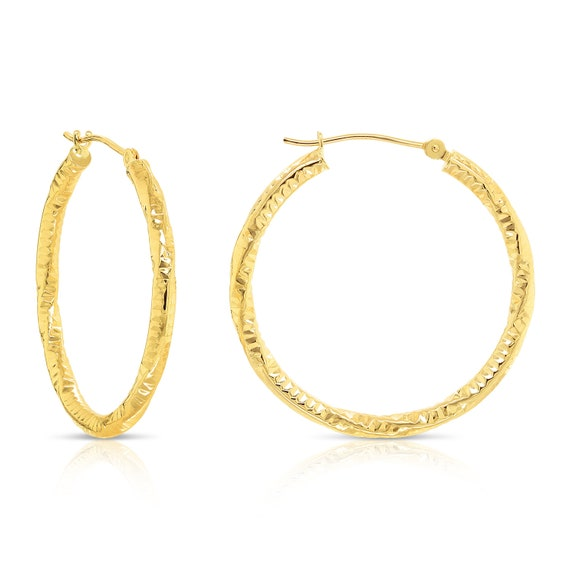 14K Yellow And White Rose Gold Twisted Round Hoop Earrings Diameter 20mm