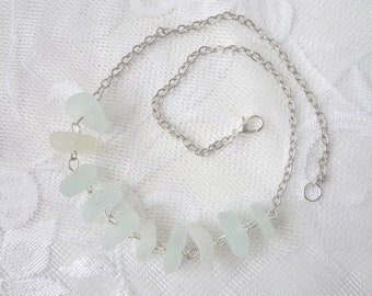 6a5e01001 Sea glass choker necklace, 16 inch, white glass nuggets