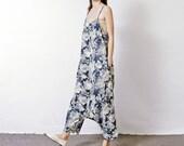 blue flowers pattern cotton linen dress cotton linen pants