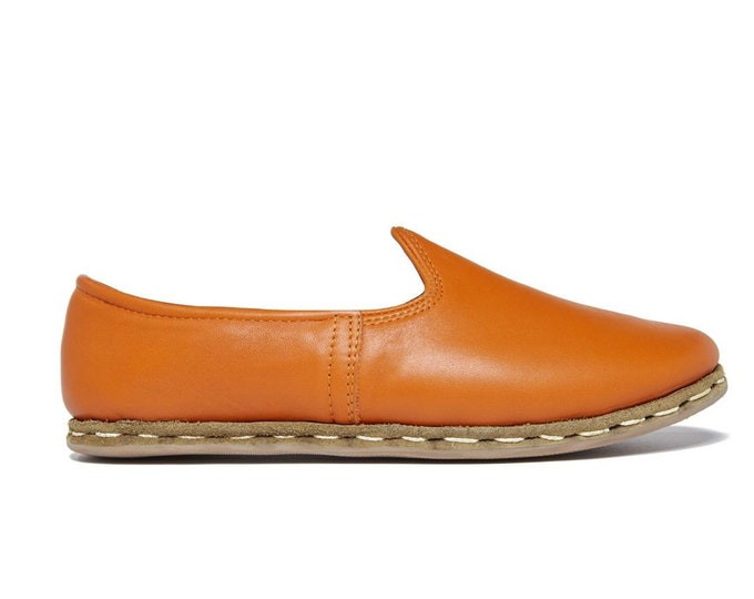 Marrakech Orange Loafer - Womens Shoes - Leather Sandals - Wedding Shoes - Bridal Shoes - Gift For Men - Gift For Women - Bridesmaid Gift