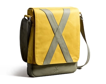 Kaft Methone Special Design Leather and Cotton Unisex Shoulder Bag 7 Color - Crossbody Bag - Green - Blue - Navy - Yellow - Gray - Purple