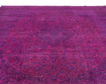 Fuchsia  9'2'' X 13'3'' Ft Persian Rug - Turkish Area Rug - Bohemian Rug - Wool Carpet Rug - Hand Knotted Rug - Accent Rug - Hall Rug
