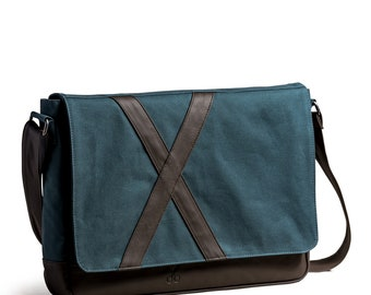Kaft Nevend Special Design Leather and Cotton Unisex Shoulder Bag 7 Color - Crossbody Bag - Green - Blue - Navy - Yellow - Gray - Purple