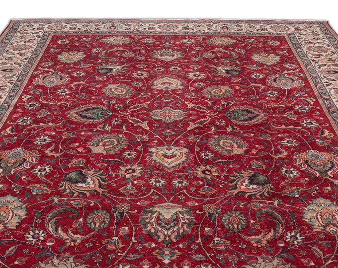 Red Floral Persian Rug 9.2X13.5 Ft, Area Rug, Kilim Rug, Rugs, Boho Decor, Moroccan Rug, Vintage Rug, Turkish Rug, Persian Rug, Oushak Rug