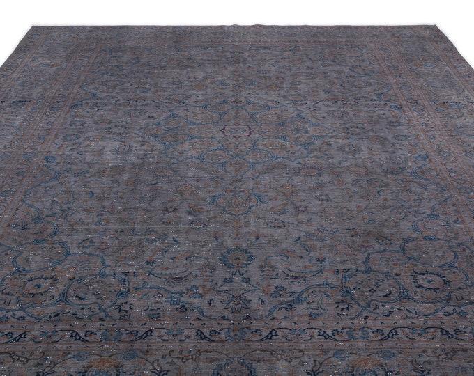 Gray Overdyed Persian Rug 9.9X13.1 Ft, Area Rug, Kilim Rug, Rugs, Boho Decor, Moroccan Rug, Vintage Rug, Turkish Rug, Persian Rug,Oushak Rug