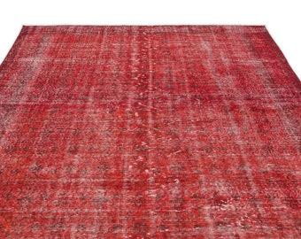 Vintage Kilim Rug Red 6'11'' X 10'6'' Ft - Turkish Area Rug - Bohemian Rug - Wool Carpet Rug - Hand Knotted Rug - Accent Rug - Hall Rug