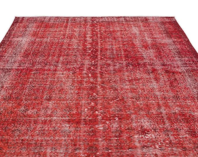 Vintage Rug, Red Rug, 6.11X10.6 Ft, Area Rug, Kilim Rug, Rugs, Boho Decor, Moroccan Rug, Vintage Rug, Turkish Rug, Persian Rug, Oushak Rug