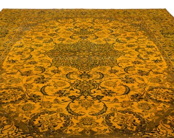 Yellow  9'7'' X 13'9'' Ft Persian Rug - Turkish Area Rug - Bohemian Rug - Wool Carpet Rug - Hand Knotted Rug - Accent Rug - Hall Rug
