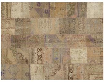 Multi  7'7'' X 9'9'' Ft Patchwork Kilim Rug - Turkish Area Rug - Bohemian Rug - Wool Carpet Rug - Hand Knotted Rug - Accent Rug - Hall Rug