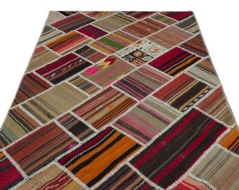 Kilim  5'1'' X 7'8'' Ft Turkish Area Rug - Bohemian Rug - Wool Carpet Rug - Hand Knotted Rug - Accent Rug - Hall Rug - Turkish Home Decor