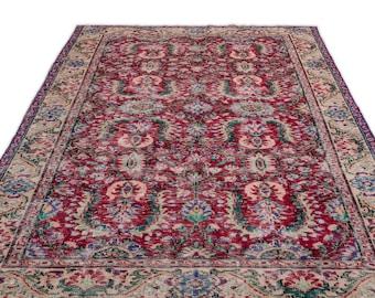 Turkish Vintage Rug 5.11X9.6 Ft, Area Rug, Kilim Rug, Rugs, Boho Decor, Moroccan Rug,Housewarming Gift, Turkish Rug, Persian Rug, Oushak Rug