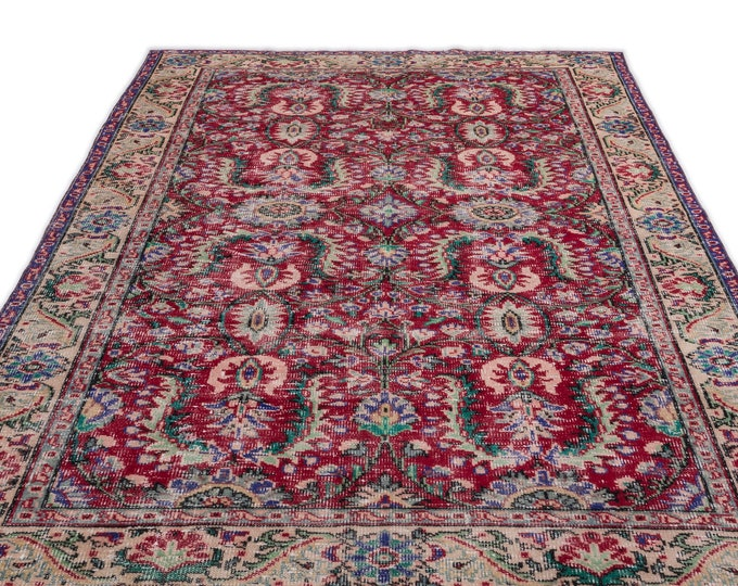 Turkish Vintage Area Rug 5.11X9.6 Ft, Area Rug, Kilim Rug, Rugs, Boho Decor, Moroccan Rug,Housewarming Gift, Turkish Rug, Persian Rug,Oushak