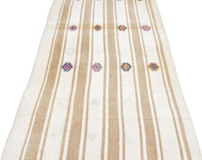 Beige - White Kilim Runner 3.7X18.4 Ft, Area Rug, Rugs, Boho Decor, Moroccan Rug, Vintage Rug, Turkish Rug, Persian Rug, Oushak Rug, Runner