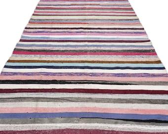 Hemp 5'10'' X 11'10'' Ft Kilim Rug -Turkish Area Rug -Bohemian Rug -Wool Carpet Rug - Hand Knotted Rug - Accent Rug -Turkish Home Decor
