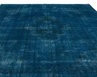 Turquoise  9'6'' X 13'7'' Ft Persian Rug - Turkish Area Rug - Bohemian Rug - Wool Carpet Rug - Hand Knotted Rug - Accent Rug - Hall Rug