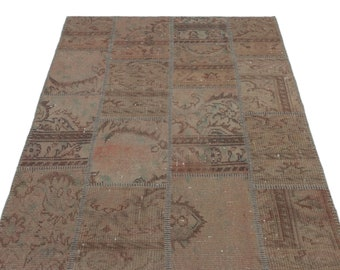 Beige 3'11'' X 5'11'' Ft Turkish Area Rug - Bohemian Rug - Wool Carpet Rug - Hand Knotted Rug - Accent Rug - Hall Rug - Turkish Home Decor
