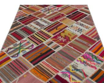 Kilim  5'1'' X 7'9'' Ft Turkish Area Rug - Bohemian Rug - Wool Carpet Rug - Hand Knotted Rug - Accent Rug - Hall Rug - Turkish Home Decor