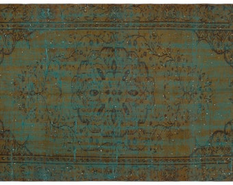 Green 4'11'' X 8'4'' Ft Vintage Kilim Rug - Turkish Area Rug - Bohemian Rug - Wool Carpet Rug - Hand Knotted Rug - Accent Rug - Hall Rug