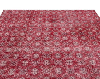 Vintage Kilim Rug Retro 7'1'' X 9'2'' Ft - Turkish Area Rug - Bohemian Rug - Wool Carpet Rug - Hand Knotted Rug - Accent Rug - Hall Rug