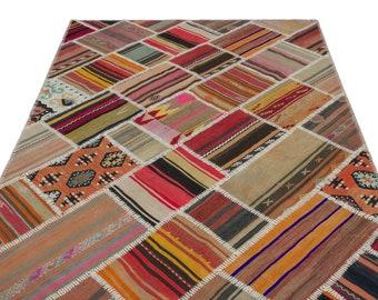 Kilim  5'2'' X 7'9'' Ft Turkish Area Rug - Bohemian Rug - Wool Carpet Rug - Hand Knotted Rug - Accent Rug - Hall Rug - Turkish Home Decor
