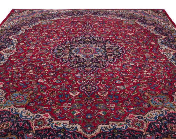 Oversized Red Persian Rug 9.6X12.8 Ft, Area Rug, Kilim Rug, Rugs, Boho Decor, Moroccan Rug, Vintage Rug, Turkish Rug, Persian Rug,Oushak Rug