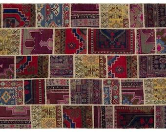 Multi  6'4'' X 9'3'' Ft Patchwork Kilim Rug - Turkish Area Rug - Bohemian Rug - Wool Carpet Rug - Hand Knotted Rug - Accent Rug - Hall Rug